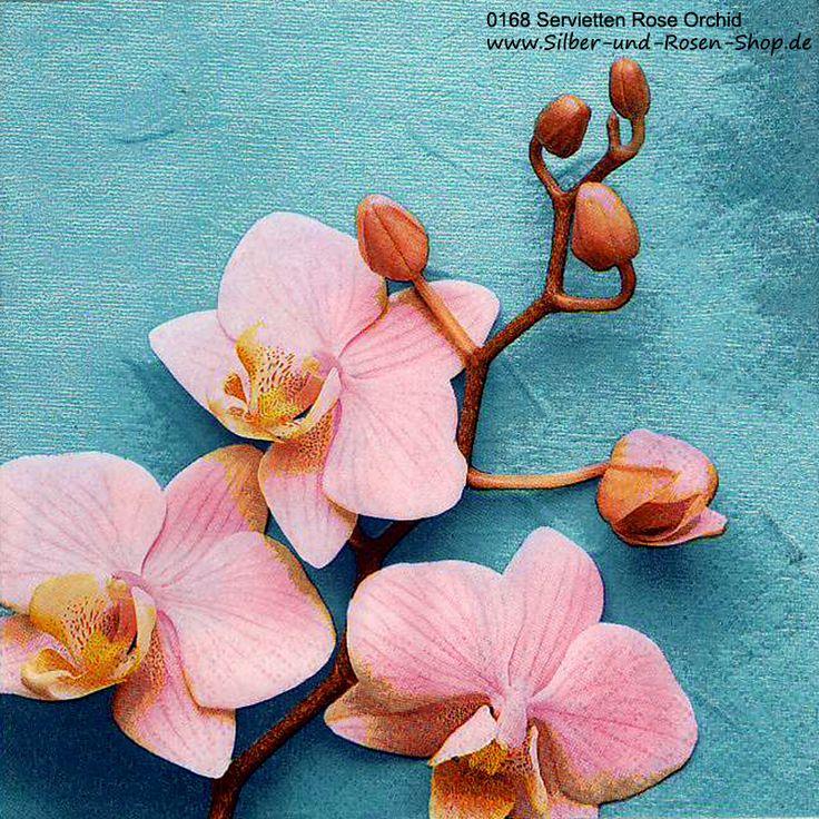Papierservietten Rosa Orchidee auf Türkis