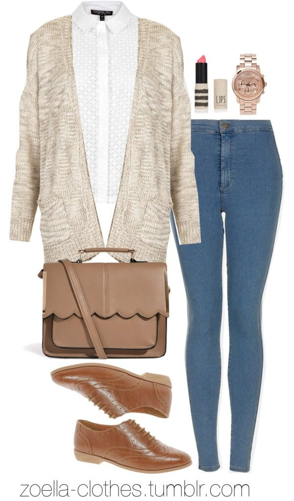 Untitled #436 by zoella-clothes featuring lips makeup (personally a good college outfit or even high school:) Topshop  cardigan / Topshop burn out shirt / Topshop super skinny jeans / ASOS  shoes / ASOS snap bag / Michael Kors chronograph watch/ Topshop lips makeup
