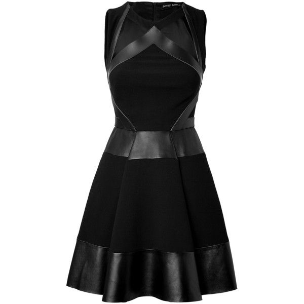 David Koma Leather/Haircalf Strapless Dress ($1,389) ❤ liked on Polyvore featuring dresses, short dresses, vestidos, black dresses, black, black dress, leather mini dress, full skirt, black strapless cocktail dress y short black dresses