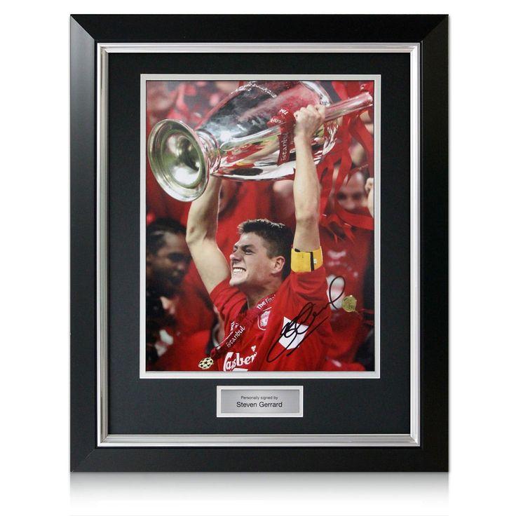 Deluxe Framed Steven Gerrard Signed Liverpool Champions