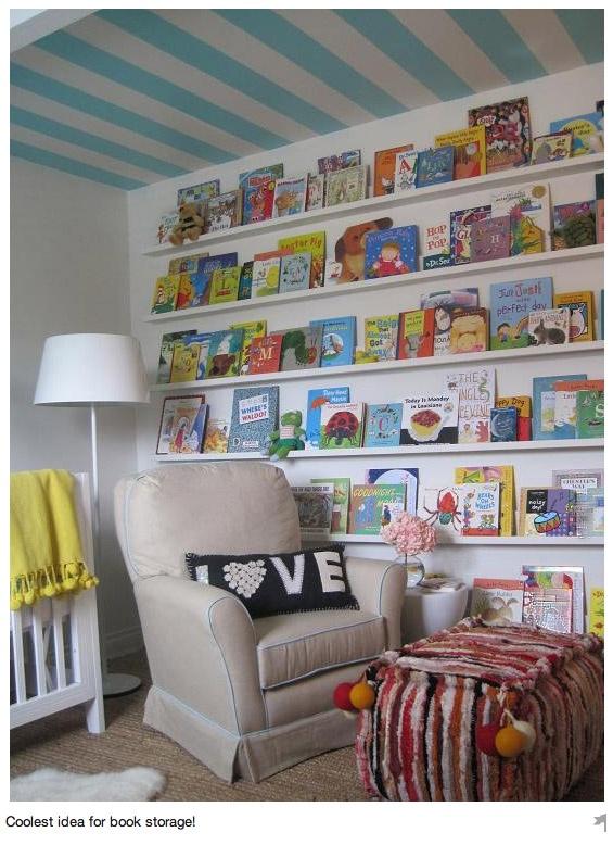 Kids books in playroom