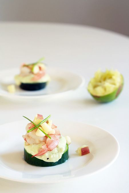 Party Shrimp by heoyeahyum: Shrimp on avocado mousse and lightly pickled cucumber with apple salad!