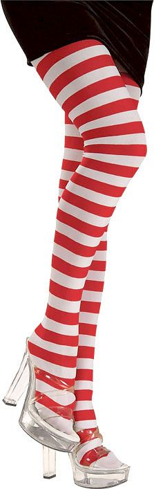 Adult Red/White Striped Tights | Costume Craze