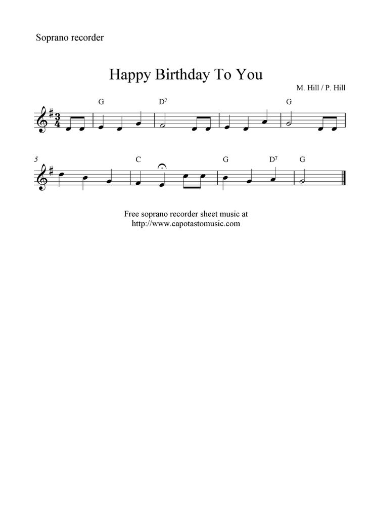 Free Sheet Music Scores: Happy Birthday To You, free soprano recorder sheet music notes