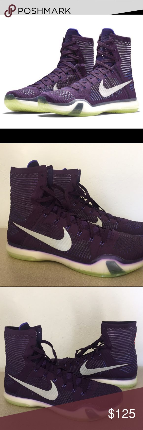 NIKE Kobe X Elite RARE Sz 19 Grand Purple Silver Brand : Nike  Style Code : 718763-505  Color : Grand Purple / Persian Violet-Volt-Reflect Silver  Size : US Men's 19  With a focus on speed and precision, the Nike Kobe X Elite features support and flexible cushioning. Kobe Bryant's tenth signature sneaker also has a Flyknit upper, Nike Zoom technology, Lunarlon foam with flex grooves, integrated Flywire cables, and a durable rubber outsole.  BRAND NEW. NO BOX. NEVER WORN.   100% AUTHENTIC…
