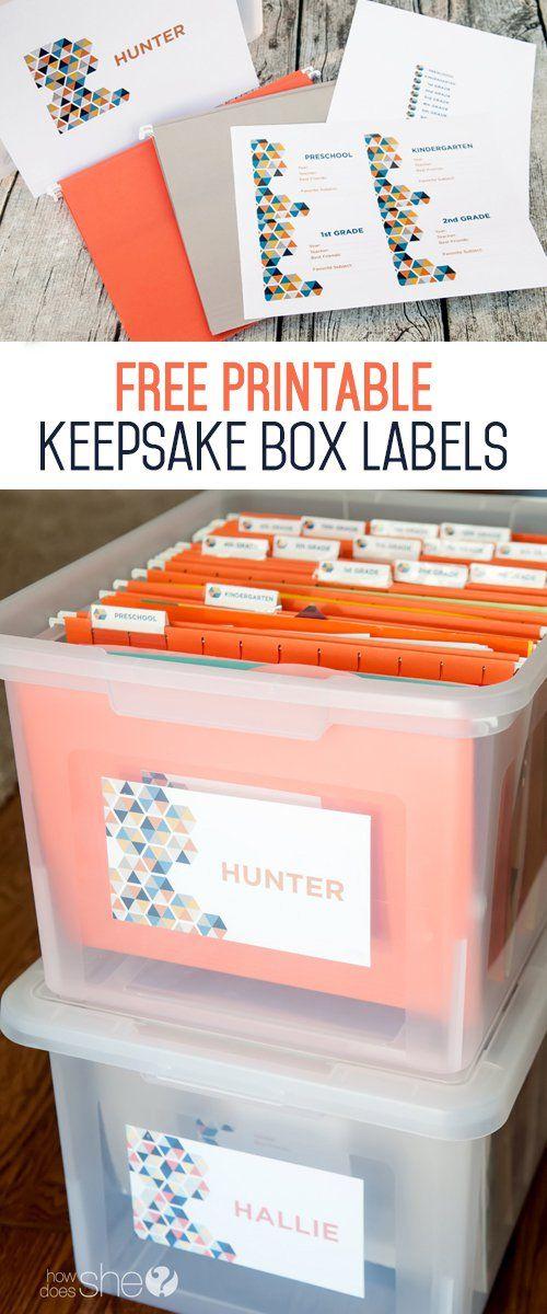 Free Printable Keepake box labels - in 2 styles!