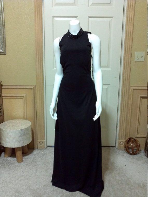 Vintage JS Boutique zwart Embelish met parels op kraag door tucans