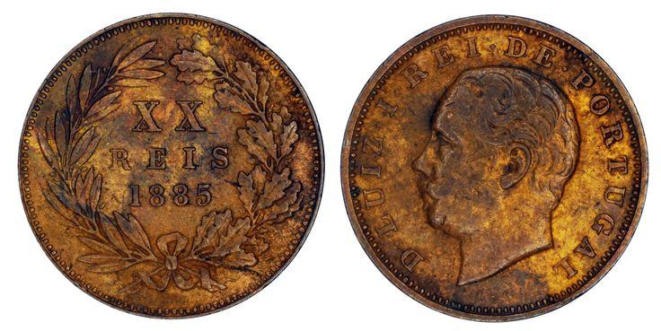 https://flic.kr/p/SqwUMV   XX Reis 1885 Portugal   Bronze Mintage: 18.493.000 Designer: Frederico Augusto de Campos (PT)