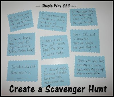 Scavenger Hunt!  Clues for a preschooler & toddler.