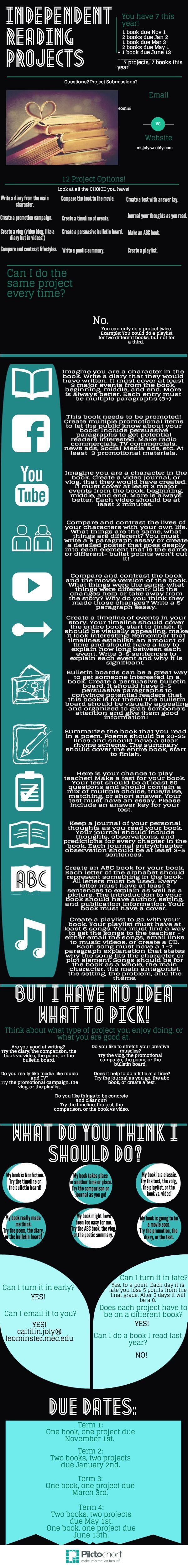 Trying a fun new way to get info to my kids! Independent Reading Projects | @Piktochart Infographic: