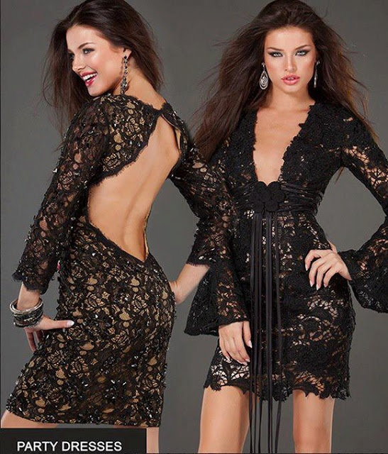 Black lace summer party dress for ladies