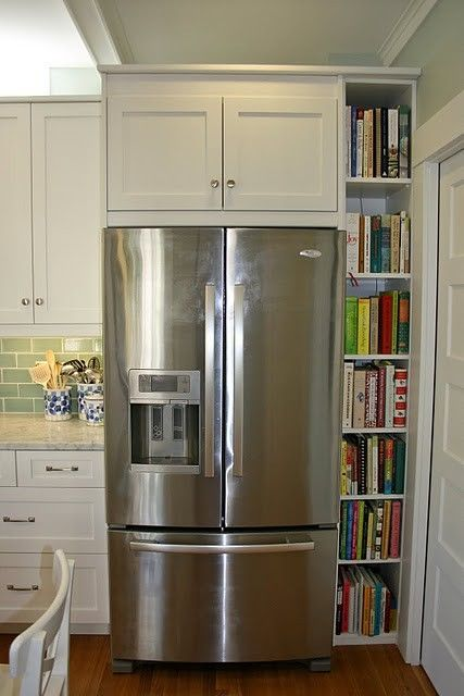 cool use of space around fridge - there are those of us who do have cookbooks
