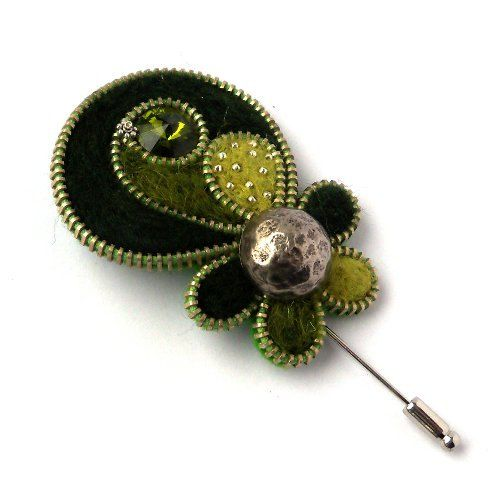 Aneta Kulesza.Spring Flower Zipper Brooch Felt Pin with Button Zipper Brooch with Olive Crystal Handmade Jewelry via Etsy