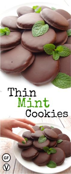 These Gluten-Free Thin Mint Cookies are so good you can't eat just one. Para el Mint Chocolate, usar: 1 cup vegan chocolate chips, 1/2 teaspoon peppermint extract, 1 teaspoon coconut oil