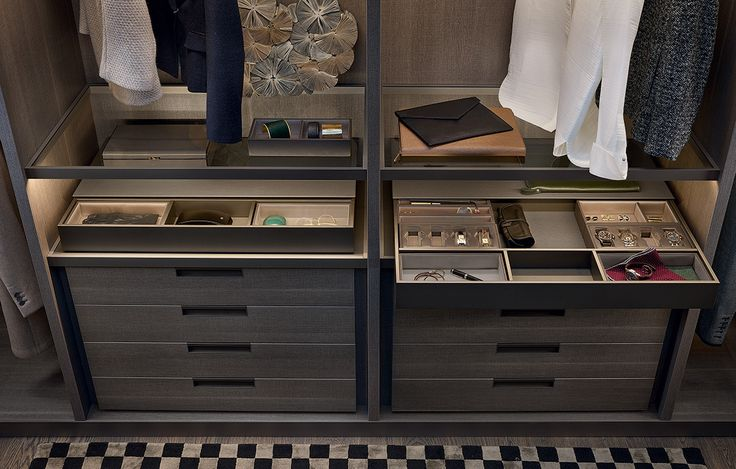 Chest of drawers in cenere oak melamine with piombo painted Gap handle and 01 visone techno-leather insert, fumé glass shelves with piombo painted frame. Pull-out dresser valet mat lacquered piombo, boxes, watch and jewels trays with structure covered in leather and inner silk pads.