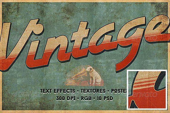 Retro Vintage Typography Photoshop Style Collection Vintage Typography Vintage Typography Poster Vintage Text