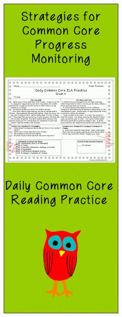 Strategies For Progress Monitoring Common Core With Daily Common Core Reading Practice