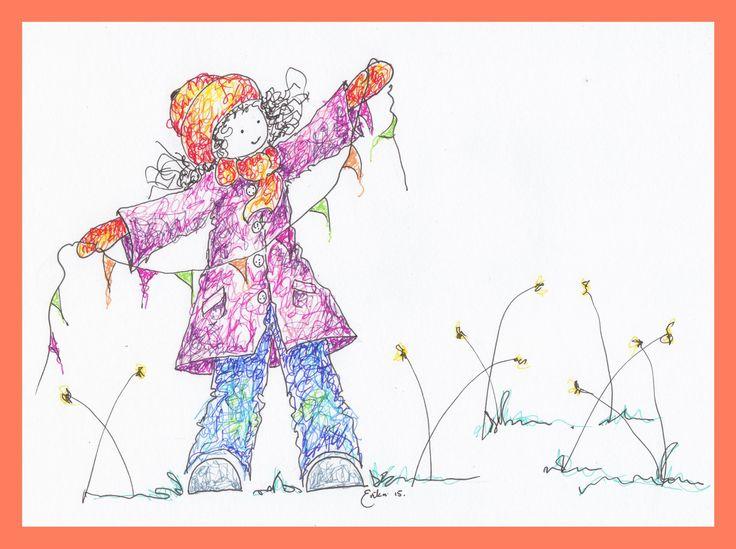 Girl with Bunting - Erika Reid Illustrations