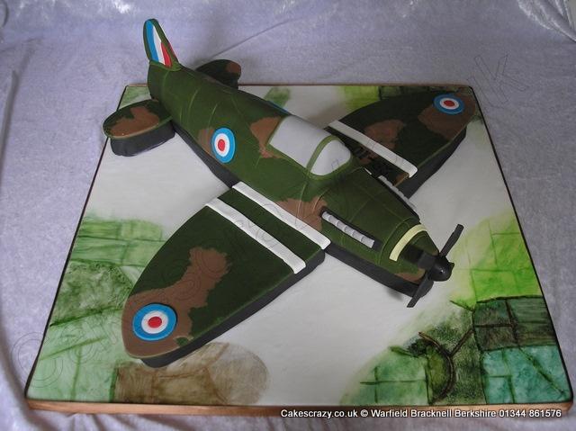 Spitfire carved and shaped novelty cake