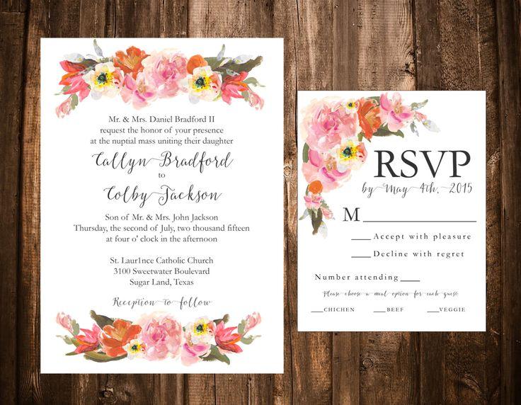 Bright Spring Floral Wedding Invitation Set; Printable; Pink U0026 Orange By  Papernpeonies On Etsy