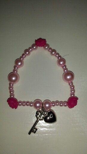 Roze roos armband met sleutel en hart bedeltjes Homemade