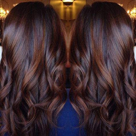 25 beautiful cinnamon brown hair color ideas on pinterest fall long curled chocolate brown hair with cinnamon highlights pmusecretfo Images