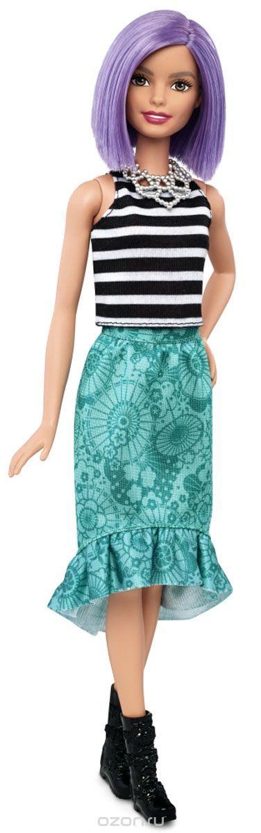 Barbie Кукла Fashionistas цвет наряда черный белый зеленый-  #BarbieКукла, #Fashionistas, #кукла барби, #сиреневые волосы