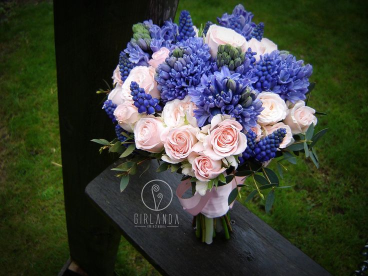 Wedding bouquet for a Bride- blue Hyacinthus and Muscari and pink Roses.