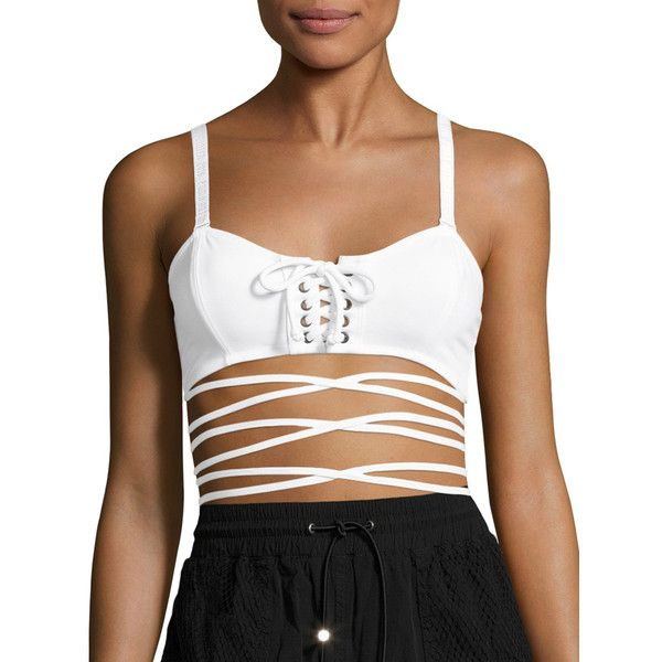FENTY Puma x Rihanna Women's Lace Up Camisole Sports Bra - White, Size... (2,245 PHP) ❤ liked on Polyvore featuring activewear, sports bras, white, white sports bra, puma sportswear, cami sports bra, puma activewear and white cami