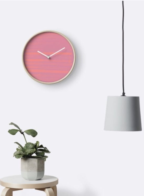 Give the perfect colorful Fashion gift for the artist | Wall Clock | Pink | Children's Room | Illustration | Art | @anoellejay @redbubble | Living Room | Clock
