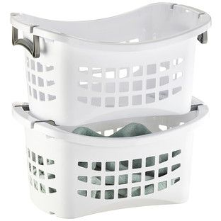Enjoy free shipping on all purchases over $75 and free in-store pickup on the White Stackable Laundry Basket with Grey Handles at The Container Store. Keep laundry from piling up with our ventilated Stacking Laundry Basket. It holds a full load of clothes and its ergonomic design makes it easy to carry. Multiples can be stacked so that each family member has their own or to make sorting easy. Once laundry is done, sort it back into individual baskets and stack them up for each family member…