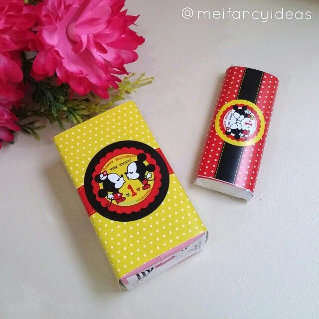 Mickey and Minnie Mouse design for the twins Marvin and Marsha Milk box label and chocolate label design   Follow IG. @meifancyideas to see more portfolios