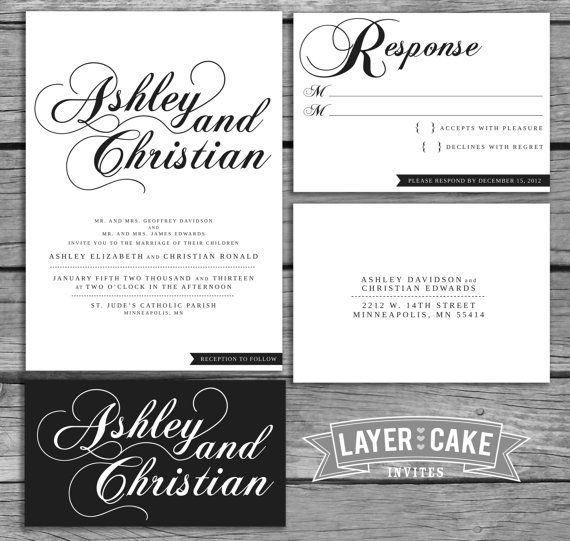185 best Weddings Paper Stuff images – Black and White Wedding Invites