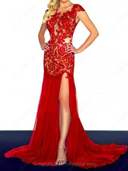 Trumpet/Mermaid Bateau Chiffon Court Train Lace Prom Dresses -USD$172.92