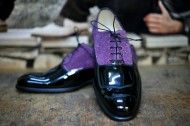 Shoes black lacquer and leather purple special