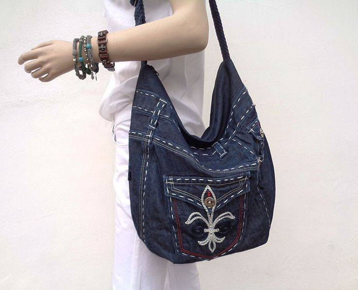 Denim bag hobo purse slouchy shoulder bag upsycled jeans by BukiBuki on Etsy