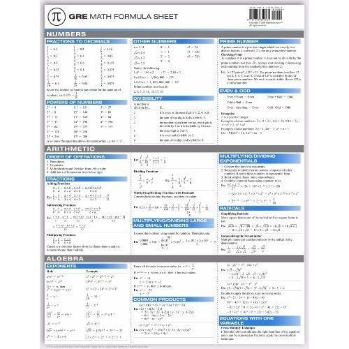 GRE Math Formula Sheet (9781615849161) Yi Hu Books