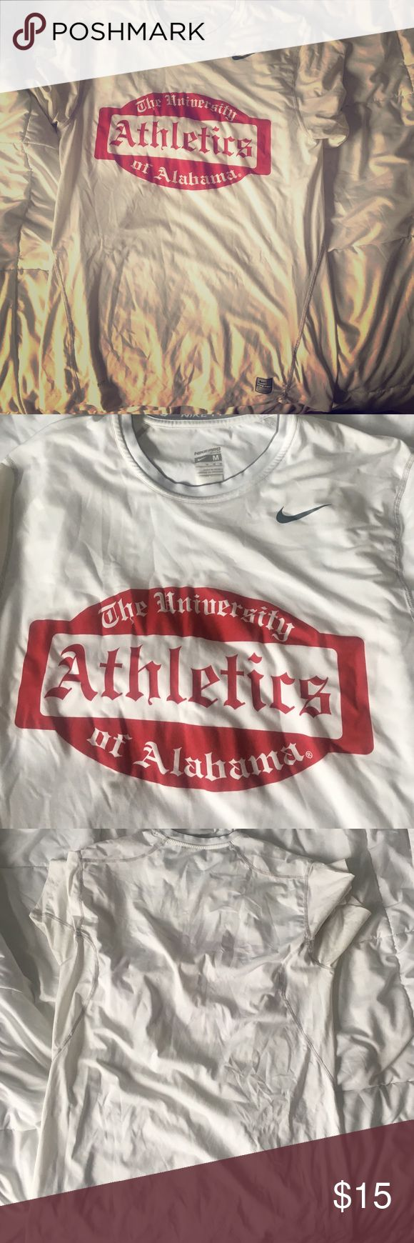 Nike Pro Men's University of Alabama Shirt Nike Pro Men's University of Alabama Shirt has never been worn and is great for workouts or game day! Fits great and is made out of Nike Pro Combat material that is breathable and stretchy. Nike Shirts Tees - Short Sleeve