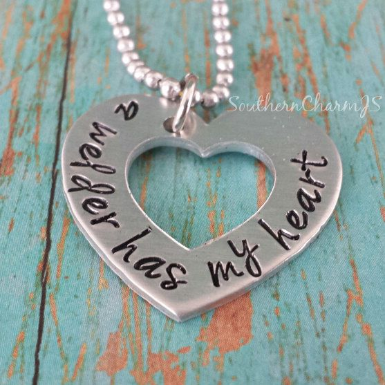a welder has my heart hand stamped heart necklace or key chain on Etsy, $16.00