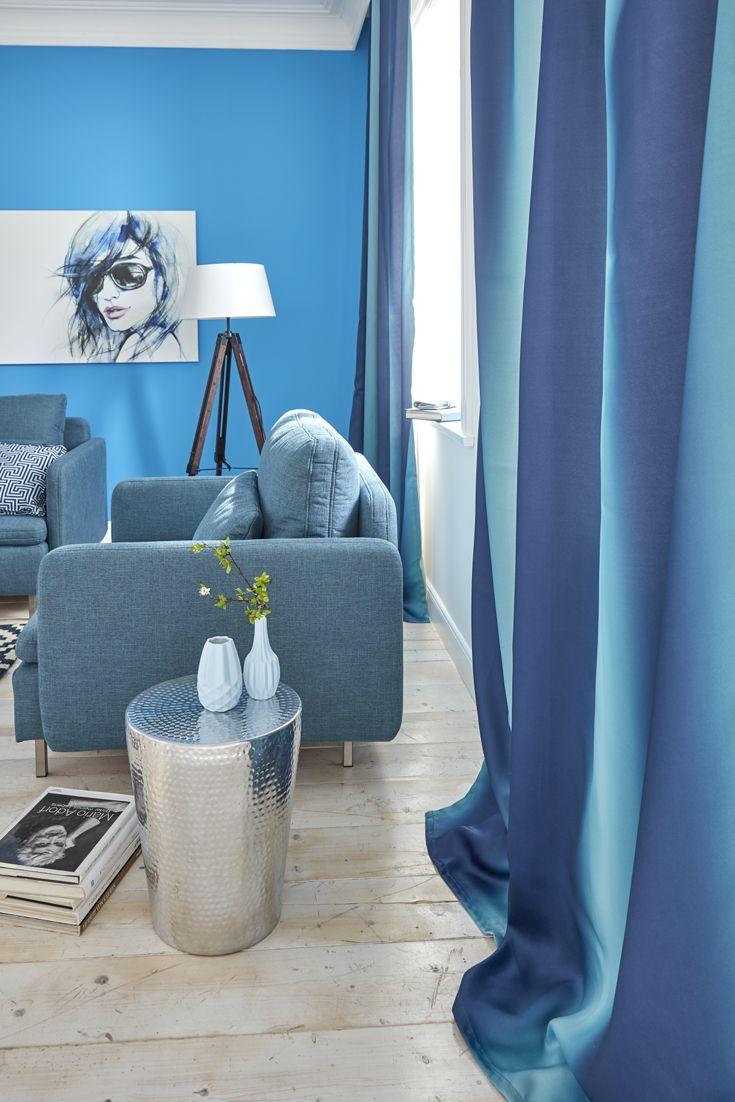 Stunning Tolle blaue Vorh nge mit Farbverlauf ein silberne Hingucker