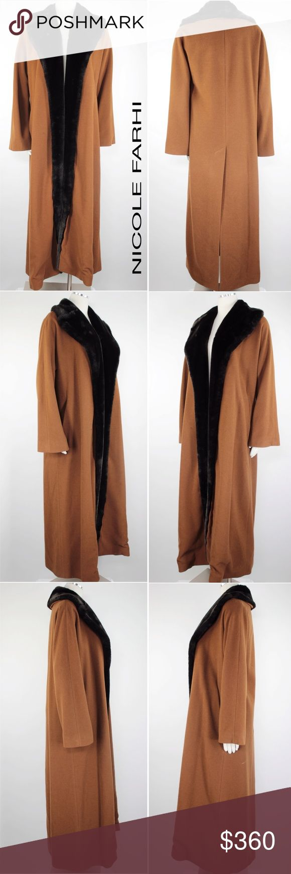"""Nicole Farhi Cashmere Fur Shawl Duster Coat 862 Nicole Farhi Women's Coat Camel Faux Fur Shawl Open Front Long Duster Cashmere Coat.  Fully Lined.  Side Hidden Pockets Retails $1,200 Size: 6 US 34 EU 8 UK Shoulder/Sleeves: 33"""" Raglan  Armpit to Armpit: 21.5""""  Inseam: 30"""" to Kick Vent"""" Length: 54.25""""  Condition: Excellent, Almost New!  Color: Camel Material: 65% Wool, 20% Polyamide, 15% Cashmere Care: Dry Clean WT: 4 CSKU: 862; 5 All measurements are approximate and taken laying flat…"""