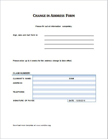 The contents of the change of address form are pretty simple and – Address Change Template