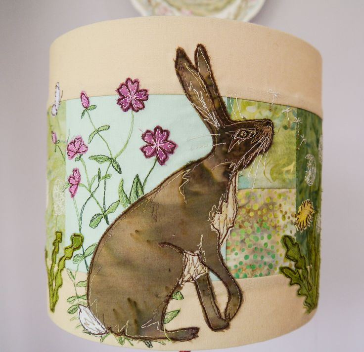 Fabric kit (with or without lampshade kit) and pattern for hare and dandelion lampshade raw edge applique tutorial free motion embroidery by RaggedyRuffDesigns on Etsy https://www.etsy.com/listing/521824932/fabric-kit-with-or-without-lampshade-kit