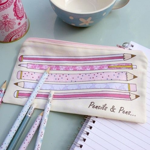 pencils and pens printed fabric pencil case