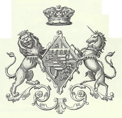 Lion and Unicorn crest for ink transfer to fabric or furniture renovation.