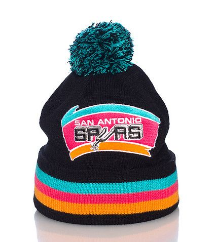 MITCHELL AND NESS San Antonio Spurs Basketball Winter cuffed beanie Embroidered team logo Pom pom on top