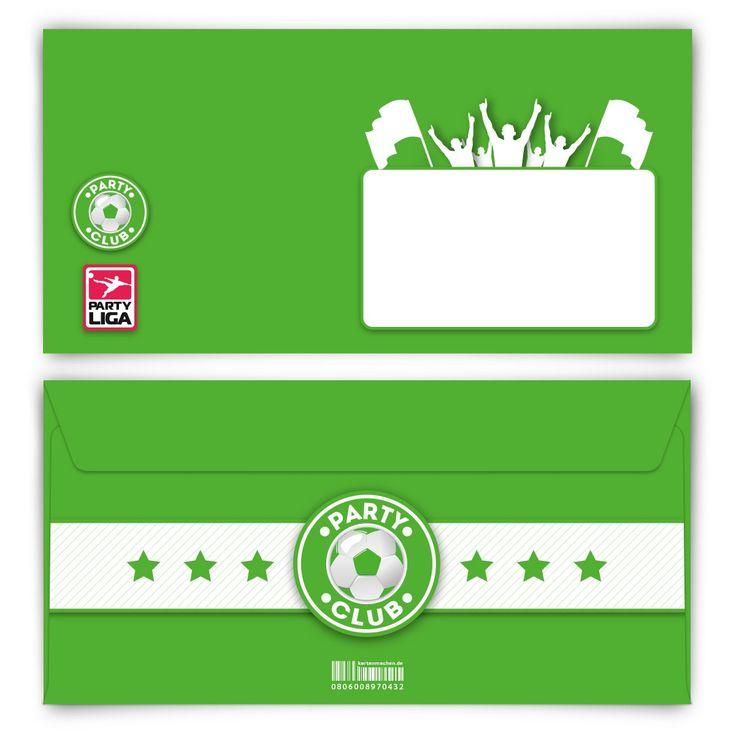 Wir feiern die ganze Nacht! (Briefumschlag, DIN Lang quer) #briefumschlag #papeterie #kreativ #fußball #grün