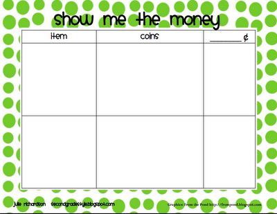 Here's a board and directions to play a game called Show Me the Money.