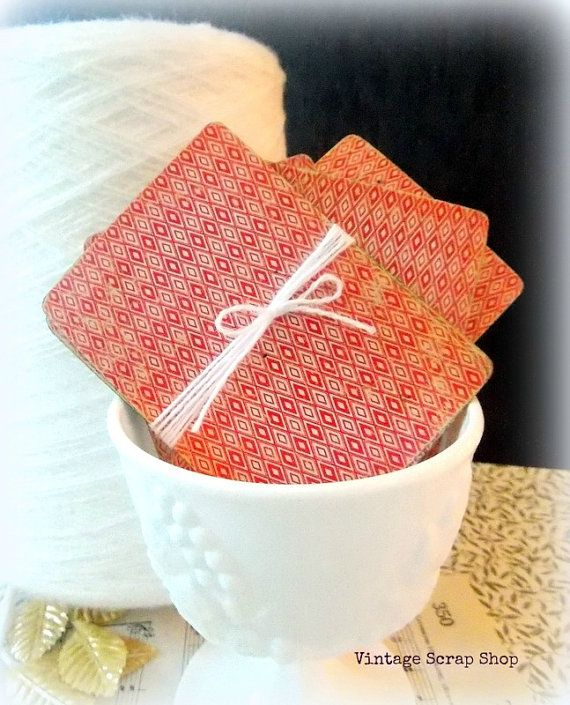 Bundle of Red & White Pinochle Cards by vintagescrapshop on Etsy