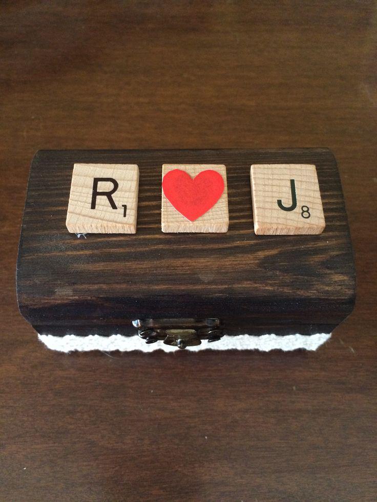 Caja alianzas boda - Wedding ring box scrabble